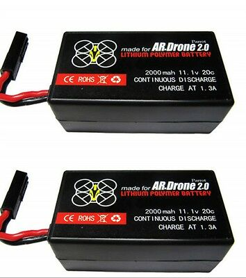2 x 2000mAh 11.1v LiPo Battery For Parrot Ar Drone 2.0 Big Capacity battery