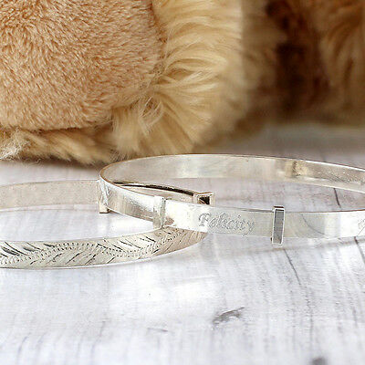 Personalised Engraved Silver Babies Childs Expanding Bracelet Christening Gift