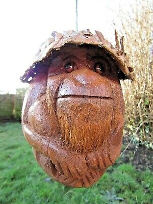 Fair Trade Hand Carved Made Funky Wooden Style Coconut Monkey Hanging Mobile
