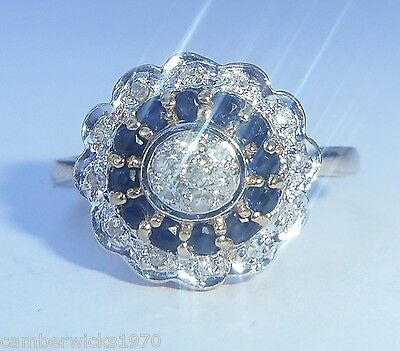 9ct Gold Sapphire & Diamond Cluster Ring, Size O, US 7