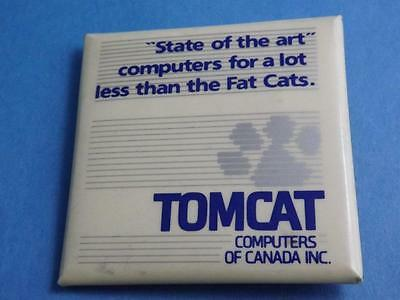 Tomcat Computers Canada Fat Cat Vintage Button Pin Back Advertising Collector