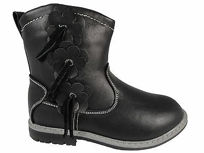 Girls Infant Toddler Black Ankle Zip Up cowboy Boots Chatterbox 3 Flower Detail