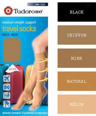 Women Ladies Weight Support Knee High Tudorose Travel Socks 5 Colours UK 4 - 7