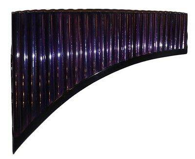 Pan Flute 25 Pipes Plum / Dark Purple Bamboo Painted - Item In Usa