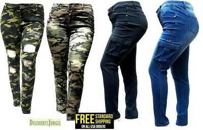WOMENS PLUS SIZE Distressed Camouflage Skinny Blue Black DENIM JEANS Cargo PANTS