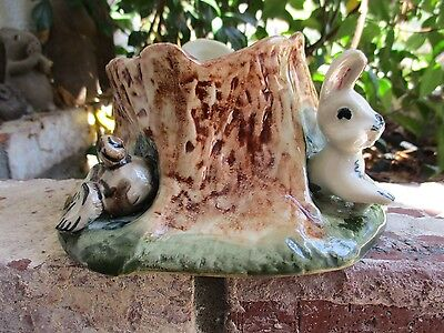 Vintage Newcomb Inc.Pottery Roselle, NJ Tree Stump Planter Rabbit in Hole