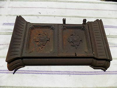 Antique ornate cast iron wood coal stove side door cover table base steampunk