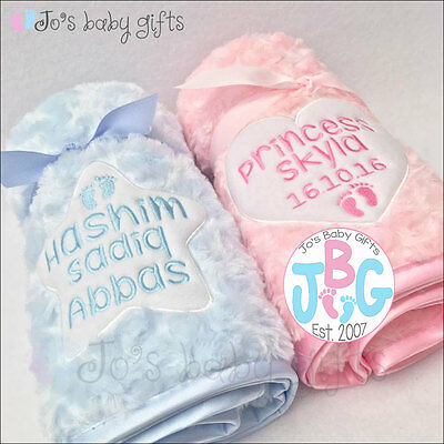 Personalised Luxury Baby Blanket, Embroidered Gift, Fluffy & Soft, Star or Heart