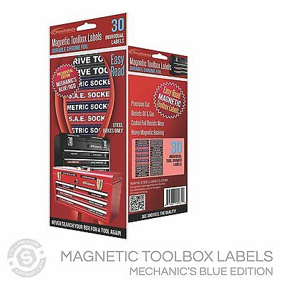 Magnetic TOOLBOX LABELS for steel chests 30 Labels Color Coded Blue Series