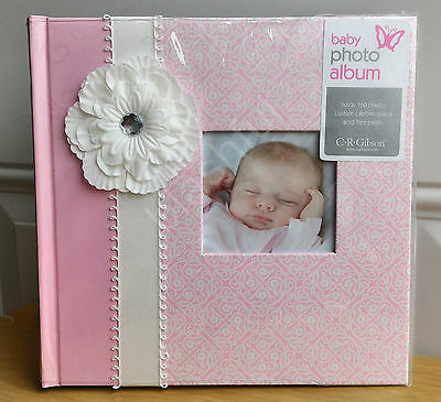 NEW CR Gibson BELLA Baby Girl Pink Floral Large Photo Album Holds 160 4x6 Pic