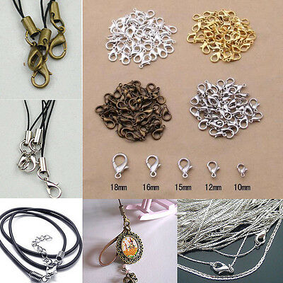 20/100Pcs Silver/Gold/Bronze Lobster Claw Clasps Hooks Jewelry Findings 10/12MM