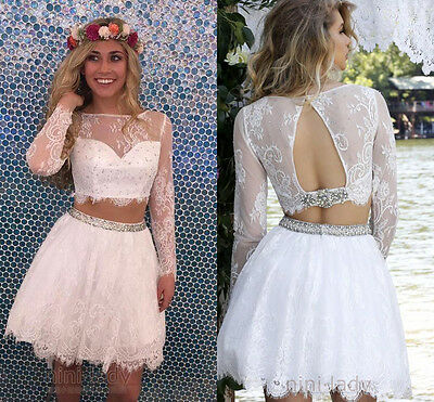 Two Pieces Homecoming Dresses Long Sleeves Lace Short Prom Party Cocktail Gown