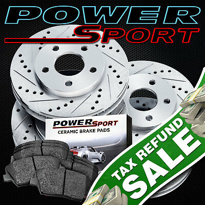 Full Kit Drilled Slotted Brake Rotors and Ceramic Pads 2005-2010 Ford Mustang