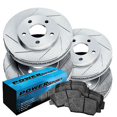Fit 2006-2011 Buick Lucerne Front Rear Rear Slotted Brake Rotors+Ceramic Pads
