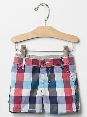 GAP Baby Boy Size 3-6 Months Red / White / Blue Plaid Madras Pull-On Shorts