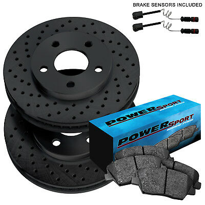 Front Cross-Drilled Slotted Brake Rotors Disc and Ceramic Pads Crossfire,SLK320