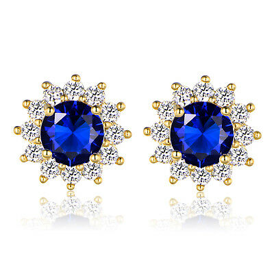 Deep Blue Sapphire Crystal Sun Flower 24k Gold Filled Women Lady Stud Earrings
