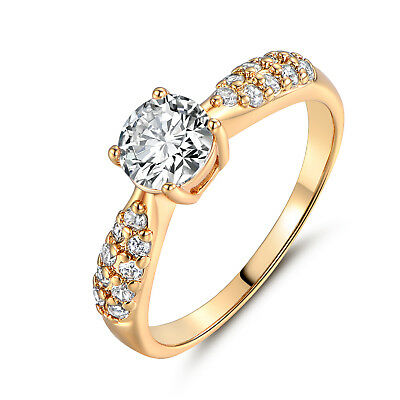 Retro Diamond Clear Sapphire Pave Band Yellow Gold Filled Women Lady Party Rings