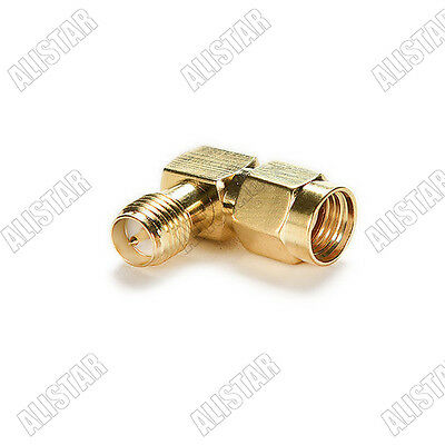 RF Adapter 90° RP.SMA male jack to RP.SMA female plug connector right angle
