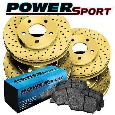 Fit Lexus, Toyota ES300, Camry Front Rear Gold Drilled Brake Rotors+Ceramic Pads
