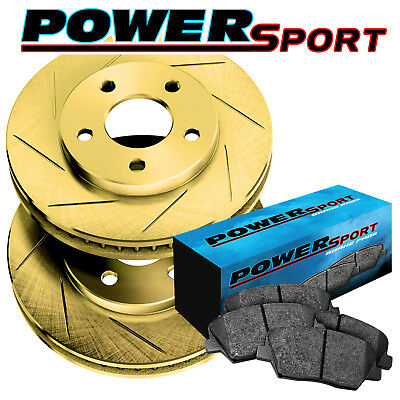 Fit 2010 Volkswagen Golf, Jetta Front Gold Slotted Brake Rotors+Ceramic Pads