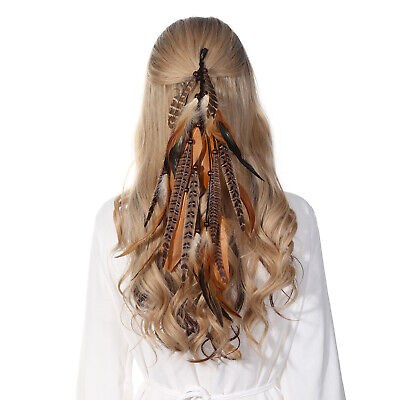 Native American Indian Feather Hair Comb Clip Extension Boho Tribal Costume