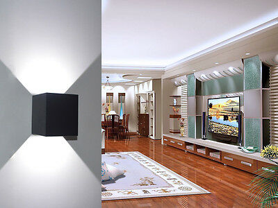 7W LED Square Cube Wall Light White Indoor/Outdoor Lighting Path Way Garden Lamp
