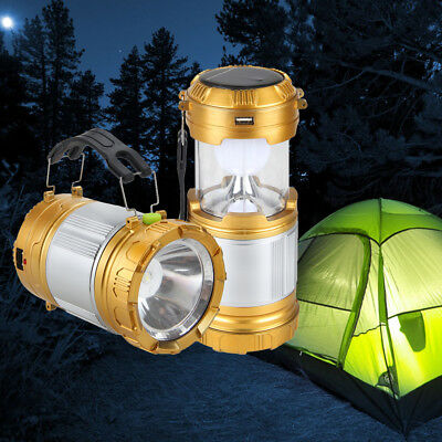 Solar LED Lantern Outdoor Night  Rechargeable Camping Light Lamp Power Tent Lamp