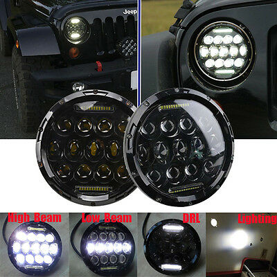 Pair 7inch 75W Phillips LED Headlight Offroad Car Lamp For Jeep Wrangler