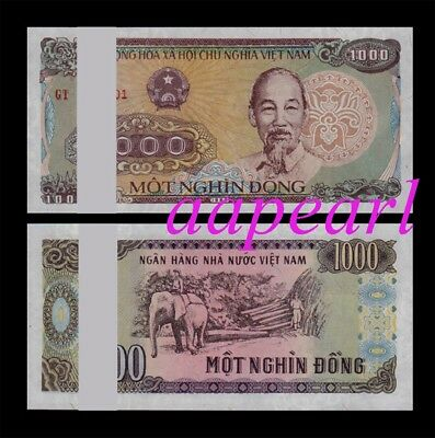 100pcs Vietnam 1000 Dong real paper money. UNC Banknotes brand new a bundle