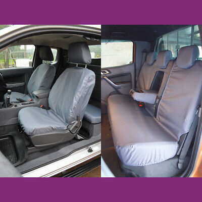 Ford Ranger Double Cab 2012+ Grey Tailored Waterproof Front & Rear Seat Covers