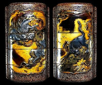 SUPERB Japanese Edo 18-19th C Antique Makie Sharkskin INRO Dragon & Panther B976