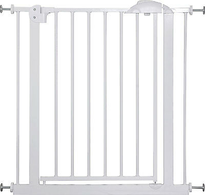 """Door- and Stair- Safetygate MIKA 29.5"""" - 68.9"""" Metal White Barrier Kid Pet Child"""