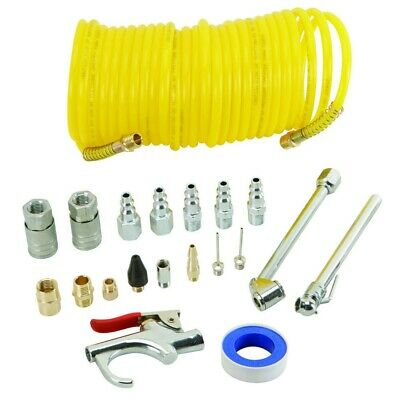 20Pc Air Compressor Fittings Accessory Kit Inc Connectors Blow Gun Tyre Inflator