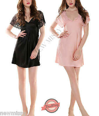 Black Pink Satin Nightwear Lace Nightdress Chemise Dress Lingerie Babydoll Slip