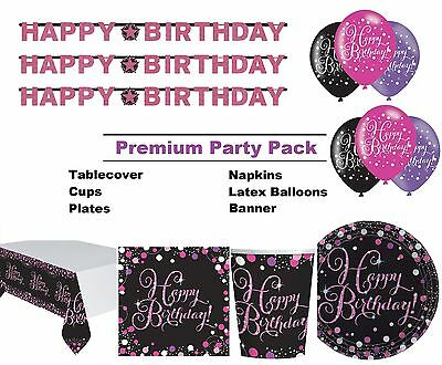 Pink Sparkling Birthday 8-48 Guest Premium Party Pack Tableware | Decorations