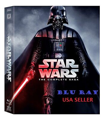 Star Wars: The Complete Saga (Blu-ray Disc, 9-Disc Set, Boxed Set) Blu Ray * NEW