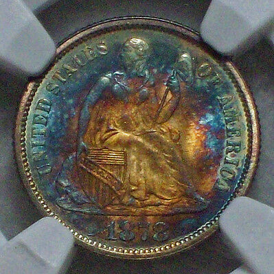 1878 Dime NGC MS 67 ✯ STAR Gorgeous Rainbow ✯TIED FINEST KNOWN F-102 Type 2 10C