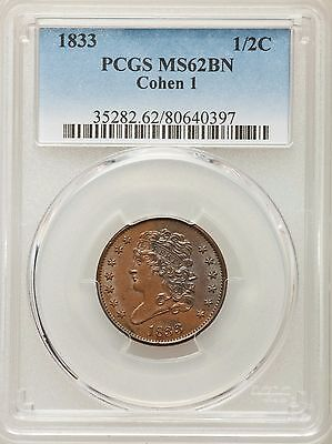 1833 Half Cent PCGS MS 62 Brown C-1 Variety UNCIRCULATED Gorgeous Luster 1/2 HC
