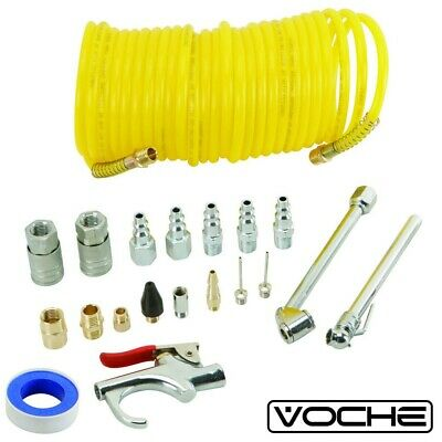 Voche® 20Pc Air Compressor Accessory Kit Inc. Connectors Blow Gun Tyre Inflator