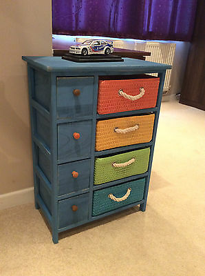 New Boys Bedroom Furniture Wicker Draws Unit Blue Storage Chest Children's Room
