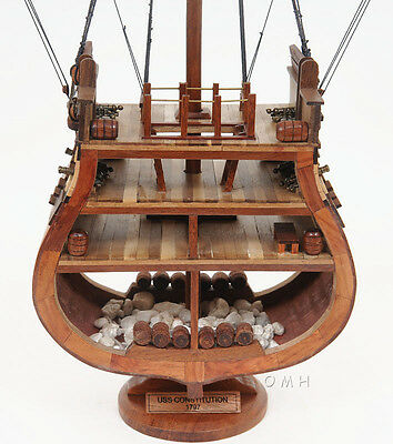 """USS Constitution Cross Section Wooden Tall Ship Model 34"""" Old Ironsides"""