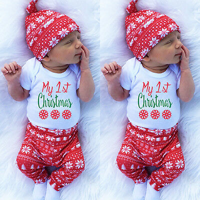 Newborn Baby Boys Girls Tops Romper Pants Hat 3PCS Outfits Set Christmas Clothes