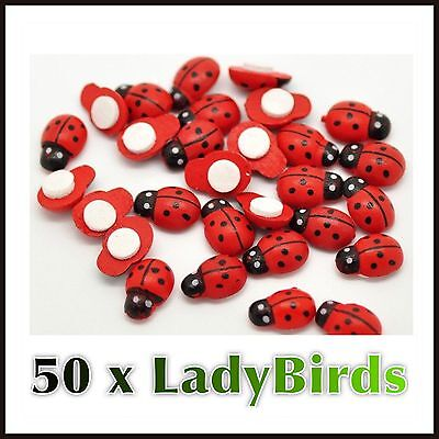 50 x Mini Red Wooden Ladybirds Self Adhesive Craft Cards Embellishments toppers