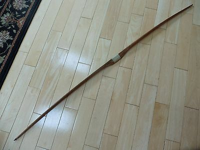 Unmarked Vintage wooden longbow archery wood & string wrapped handle 61""