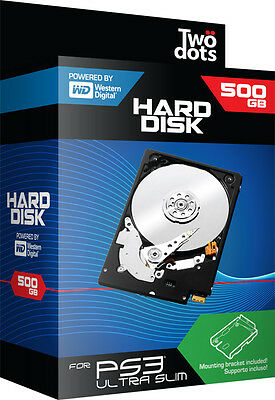 Hard Disk HDD 500GB with Playstation 3 PS3 Ultra Slim Case TWO DOTS IT IMPORT
