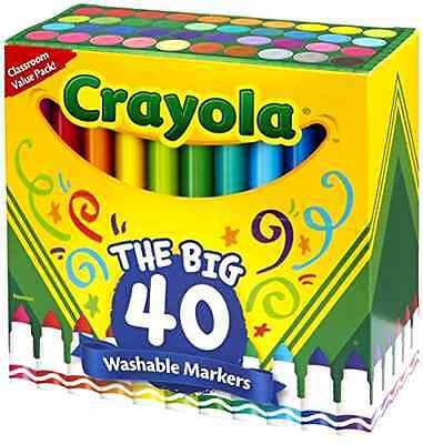 Crayola Broad Line Ultra-Clean Washable Markers 40 Count