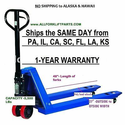 "PALLET JACK / HAND TRUCK 27"" X 48"" 5500  Capaci  1-YEAR WARRANTY SHIPS FREE! NEW"
