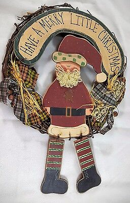 Christmas Wreath Country Rustic Primitive Santa Claus Merry Little Christmas