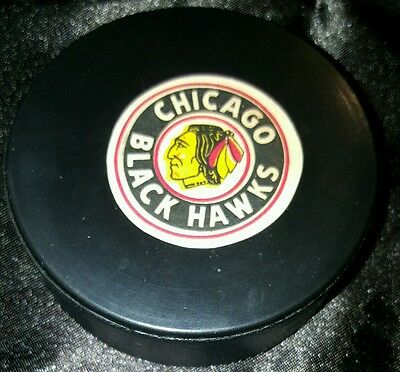 1960s VINTAGE CHICAGO BLACK HAWKS CONVERSE  NHL HOCKEY  SCARCE PUCK art ross